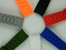 20mm or 22mm Curved Rubber Watch Band Strap 7 colors For Choice Fit Rolex O Ice