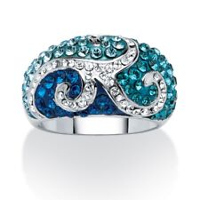 PalmBeach Jewelry Blue SWAROVSKI ELEMENTS Crystal Scroll Ring Platinum-Plated