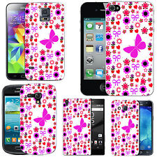 motif case cover for various Mobile phones -  pink flighted butterfly floral