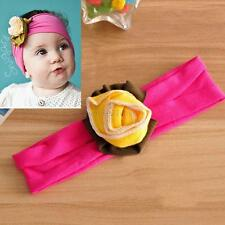 Baby Girl Flower Headband Stretch Headwear Kid Solid Color Hairband Accessories