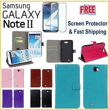 Samsung Galaxy NOTE II 2 N7100 Leather Horse Wallet Case FREE Screen Protector