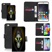 pu leather wallet case for many Mobile phones - hooded skull