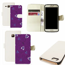 pu leather wallet case for majority Mobile phones - purple heart creeper white
