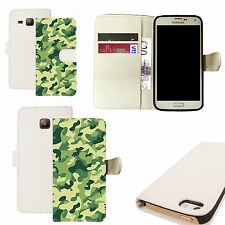 pu leather wallet case for majority Mobile phones - swamp cammy white