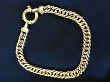 Gold bracelet 9ct solid double curb link.
