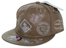 NEW! Negro League Baseball Fitted Leather Hat Embroidered Logo Cap - Tan