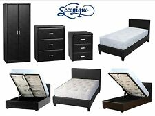Seconique Prado Faux Leather Bedroom Furniture Wardrobe Chest Bed - Black Brown