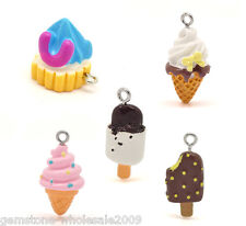 Wholesale Lots Mixed Resin Ice Cream Charms Pendants