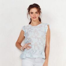 LC LAUREN CONRAD LIGHT BLUE FLORAL JACQUARD PEPLUM TOP SIZE S,M,XL;NWT