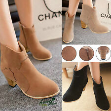 Womens Ladies New Chelsea Cowboy Block Heel Grip Sole Winter Ankle Boots Shoes