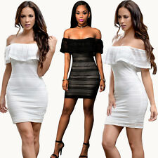 Women Lace Slash Neck Off Shoulder Hollow Out Bodycon Package Hip Party Dress