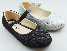Kid's Girl's Glitter Party shoe Dress shoes Mary Jane Ankle Strap Flats DIMON15K