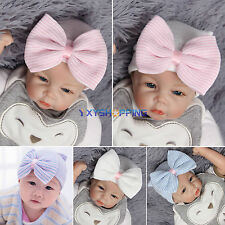 Baby Girls Infant Colorful Bowknot Striped Cap Hospital Newborn Soft Beanie Hat