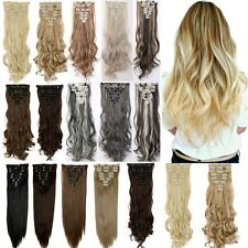 US Real As Human New Thick Hair Clip In Hair Extensions Full Head Blonde H81