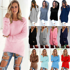 Womens Ladies V-Neck Chunky Knitted Oversized Baggy Sweater Jumper Tops Outwear
