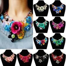 Vogue Crystal Statement Necklace Choker Flower Chunky Collar Pendant Jewelry C42
