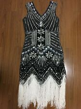 1920s Women's Tassel Flapper Dress Gatsby Vintage Sequin Party Gown Size 8-10