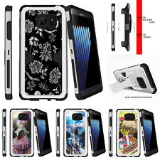 For Samsung Galaxy Note 7 N930 Holster Clip Stand Silver Case White Flowers