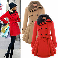 Womens Winter Double-Breasted Wool Jacket Fur Collar Long Trench Coat Outerwear