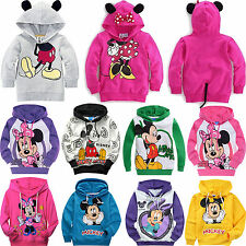 Kids Boys Girls Cartoon Mickey Minnie Mouse Hoodies Coat Pullover Sweatshirt Top