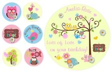 Edible Icing Personalised Owl Themed Girls Birthday Cake & Cupcake Toppers