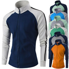 Mens Fashion Slim Color matching Coat Mens Stand Collar Casual Sport Jacket Tops