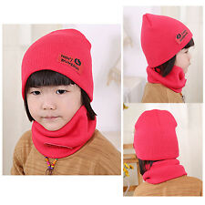 Kids Children Knitted Hat Solid Wool Winter Caps + Scarf Suits Warm Soft Scarf