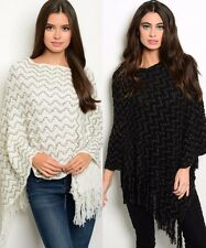 Ms Accessories Zig Zag Knit Poncho Fringe Sweater High Low Black White MYF1012