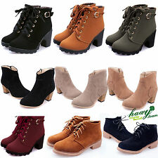 Womens Ankle Boots Rider Martin Autumn Winter Casual Low Heel LACE UP GOTH Shoes