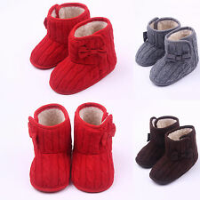Infant Kids Girls Warm Knotbow Baby Boots Crib Shoes First Prewalker Slip-on