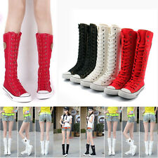 Womens Girls Knee High Punk Rock Gothic Zip Lace Up Canvas Boot Shoes Sneaker
