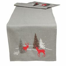 Christmas Table Runners Placemats Tablecloths Cushion Covers Red Grey Embroidery