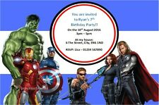10 x Avengers Birthday Party Invitations Personalised/Blank/Thank You Cards