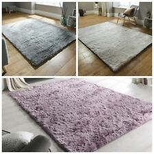 Soft Silky Luxuries Shiny Shaggy Rug in Black Silver Red Blue Pink in 4 sizes
