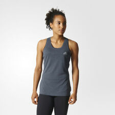 Adidas Womens Grey Blue Climachill Running Gym Sleeveless Vest Tank Top