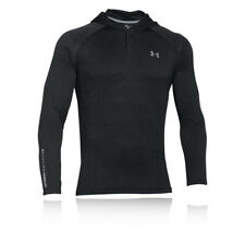 Under Armour Tech Pop Over Mens Black Running Gym Long Sleeve Hooded Top