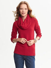 NEW Banana Republic Cashmere Blend Cable Knit Sweater Cowl Neck Red Black XS $89