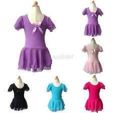 3-13Y Kid Girls Ballet Leotard Tutu Ballet Dance Leotard Skirt Dress Gymnastics