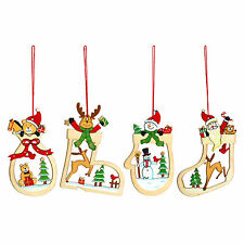 Set of 4 Wooden Traditional Christmas Tree Hanging Decorations