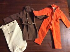 Vintage Lot of 3 GI Joe Clothes/Bag-Trench Coat, Jumpsuit and Duffle Bag