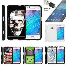 For Samsung Galaxy J1 J120 Case Hard Snap On 2 Piece + Tempered Glass USA Skull