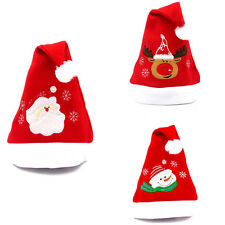 Red Christmas Thicken Plush Hat Family Adult Child Xmas Costume Santa Claus Cap