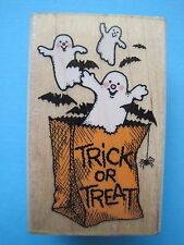 GHOSTLY TRICK or TREAT - Rubber Stamp - HALLOWEEN Bag GHOSTS Bats Spider Cobweb