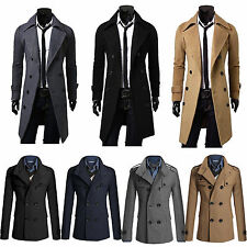 Mens Winter Warm Long Wool Jacket Trench Coat Double Breasted Overcoat Outerwear