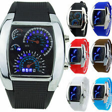 Mens Sports RPM Turbo Blue Flash LED Sports Car Meter Dial Watch Wristwatch I5