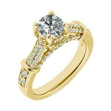 1 Carat G-H Diamond Solitaire Promise Engagement Wedding Ring 14K Yellow Gold