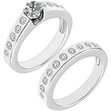 1 Carat G-H Diamond Channel Solitaire Bridal Wedding Ring Band 14K White Gold