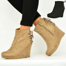 NEW WOMENS LADIES WEDGE ANKLE BOOTS BACK LACE SIDE ZIP PLATFORM BOOTIES SHOES UK