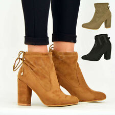 NEW WOMENS MID BLOCK HEEL BOOTIES LADIES ANKLE BOOTS SHOES SIZE UK 3-8