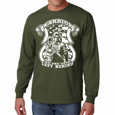 Long Sleeve Warrior T Shirt Patriot War Tee Army Military S Army Flag Guns US L